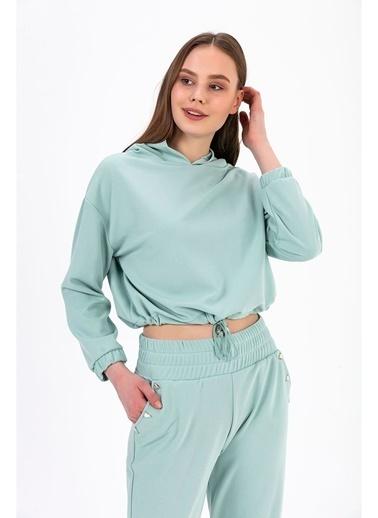 Tiffany&Tomato Kapüşonlu Beli Lastikli Crop Sweatshirt - Vizon Mavi